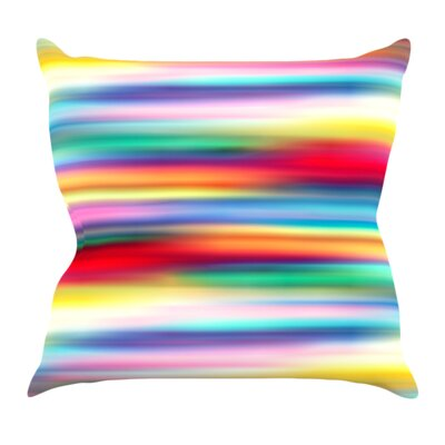 Blurry Cool by Danny Ivan Rainbow Blur Throw Pillow Size: 26 H x 26 W