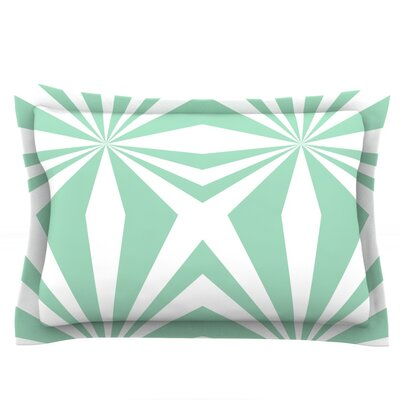 Starburst Mint by Project M Featherweight Pillow Sham Size: King, Fabric: Cotton