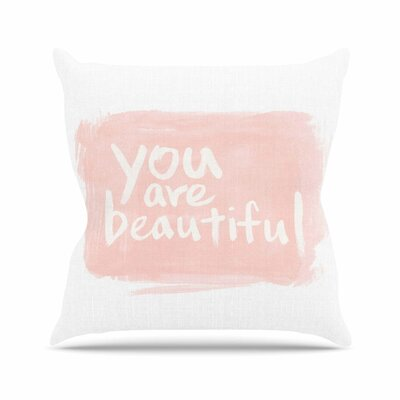 Brush Lettering Beautiful Throw Pillow Size: 16 H x 16 W