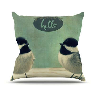 Hello Birds Throw Pillow Size: 18 H x 18 W