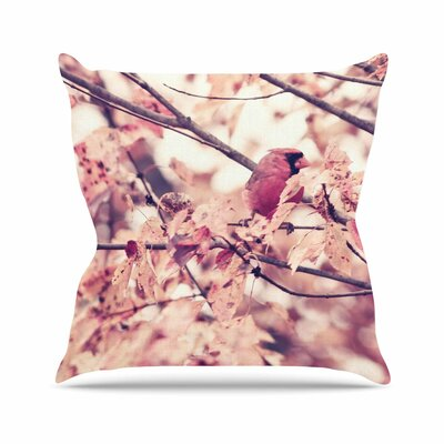 Angry Bird in Fall Leaves Throw Pillow Size: 18 H x 18 W