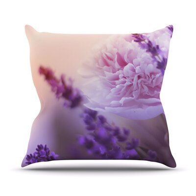 Peonyand Lavender Throw Pillow Size: 18 H x 18 W