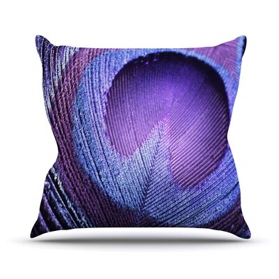 Purple Peacock Throw Pillow Size: 16 H x 16 W