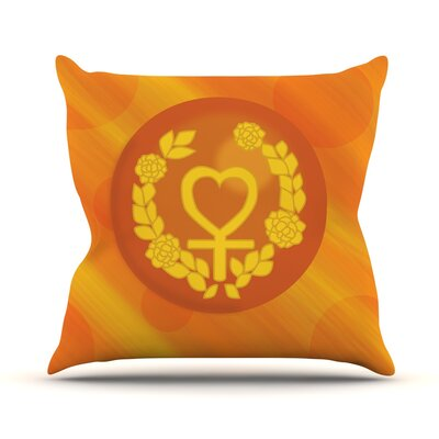 Venus Throw Pillow Size: 26 H x 26 W