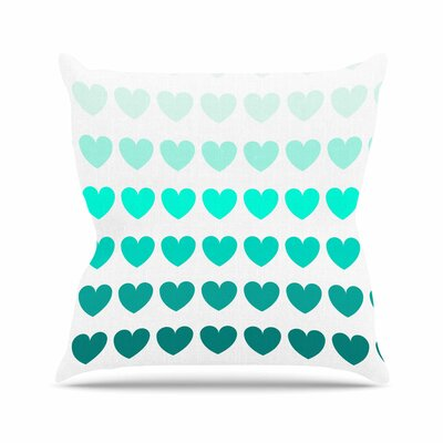 Hearts Throw Pillow Size: 16 H x 16 W, Color: Teal