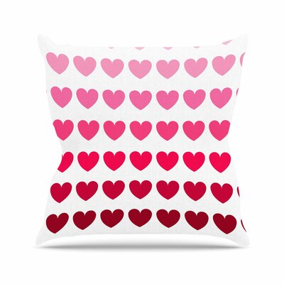 Hearts Throw Pillow Size: 18 H x 18 W, Color: Rainbow