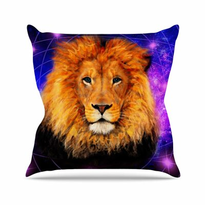 Space Lion Throw Pillow Size: 18 H x 18 W