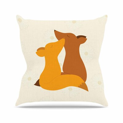 Foxy Love Throw Pillow Size: 18 H x 18 W
