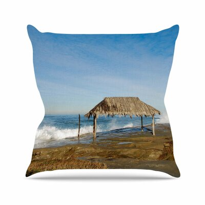 Crashing Waves Near Hut Throw Pillow Size: 18 H x 18 W