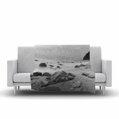 Water Moving Around Rocks Throw Pillow Size: 18 H x 18 W