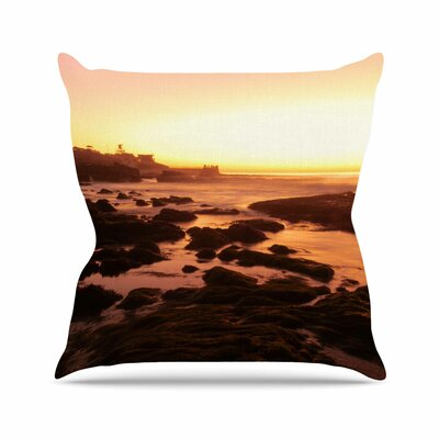 Rocks Of La Jolla Sunset Throw Pillow Size: 18 H x 18 W
