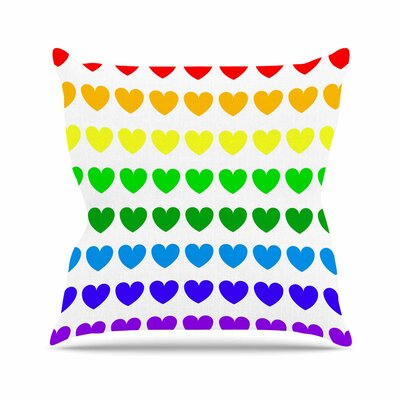 Hearts Throw Pillow Size: 16'' H x 16'' W, Color: Rainbow