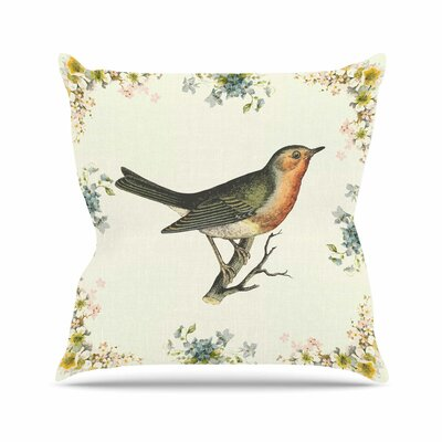 Vintage Bird 3 Throw Pillow Size: 18 H x 18 W
