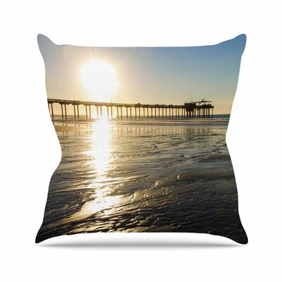 Sun Over Scripps Pier Throw Pillow Size: 26 H x 26 W