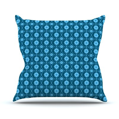 Floral Throw Pillow Size: 16 H x 16 W, Color: Blue
