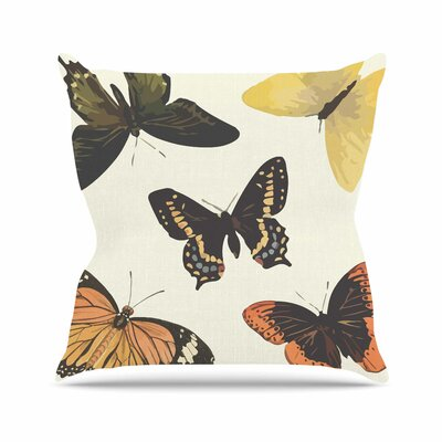 Vintage Butterflies Throw Pillow Size: 18 H x 18 W