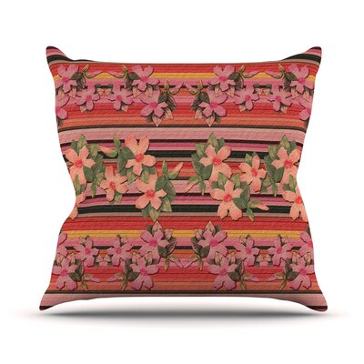 Peach Hibiscus Stripe Throw Pillow Size: 18 H x 18 W