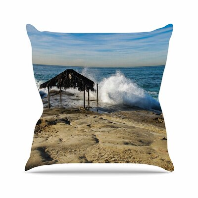 Straw Hut on Beach Throw Pillow Size: 18 H x 18 W