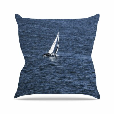 Boat on The Ocean Throw Pillow Size: 16 H x 16 W