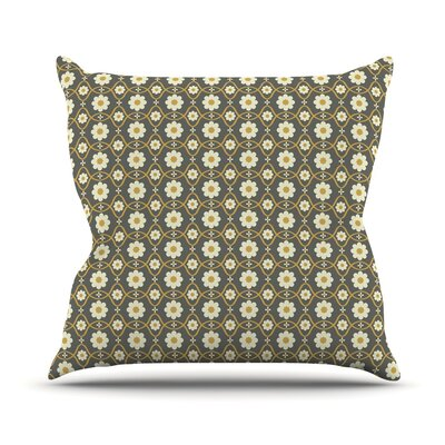 Floral Throw Pillow Size: 16 H x 16 W, Color: Grey