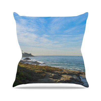 Blue Sky Over The Ocean Throw Pillow Size: 18 H x 18 W