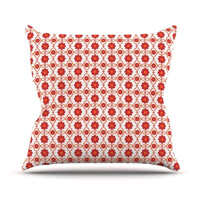 Floral Throw Pillow Size: 18 H x 18 W, Color: Red