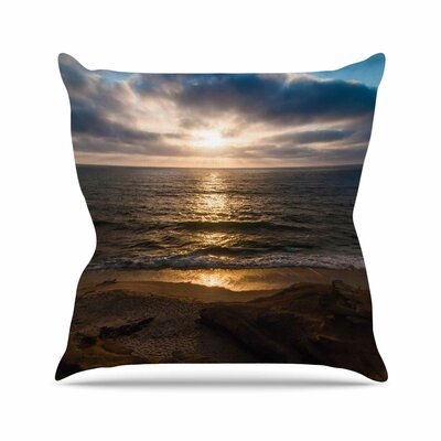 La Jolla Sunset on Beach Throw Pillow Size: 26 H x 26 W