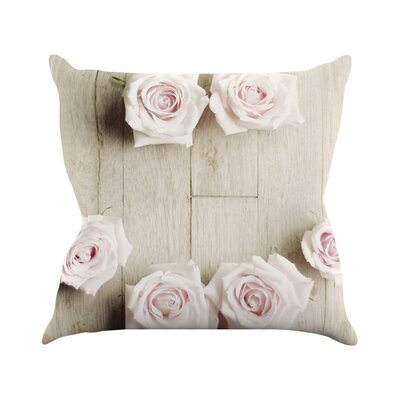 Smile by Cristina Mitchell Wood Roses Throw Pillow Size: 16 H x 16 W x 1 D
