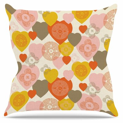 Retro Hearts Design Throw Pillow Size: 16 H x 16 W