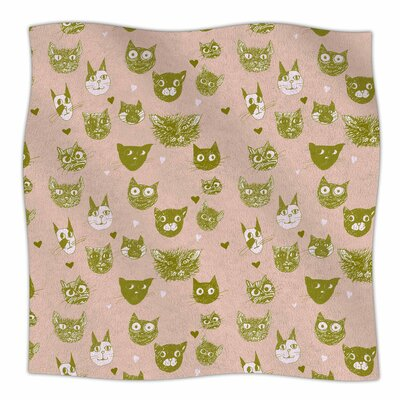 Vintage Cats Fleece Throw Blanket Size: 40 L x 30 W