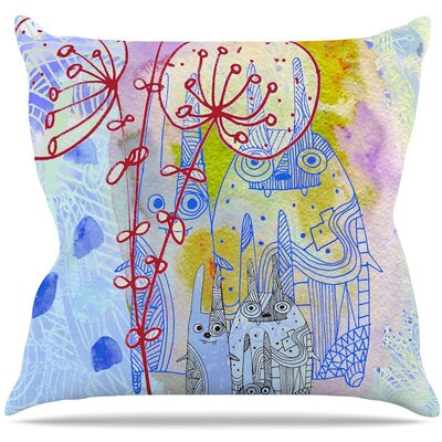 Composition with Bunnies Throw Pillow Size: 16 H x 16 W