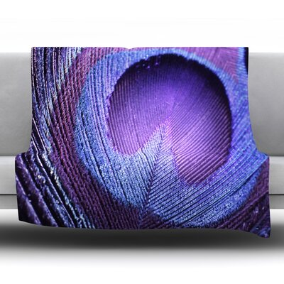 Purple Peacock Fleece Throw Blanket Size: 60 L x 50 W
