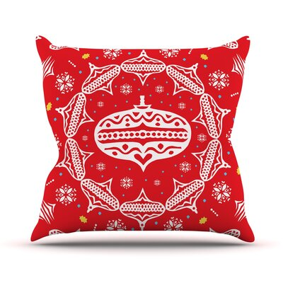 Deco Wreath by Miranda Mol Throw Pillow Size: 26 H x 26 W x 5 D, Color: Red
