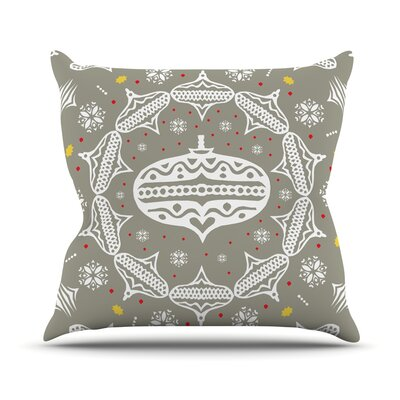 Deco Wreath by Miranda Mol Throw Pillow Size: 16 H x 16 W x 3 D, Color: Silver