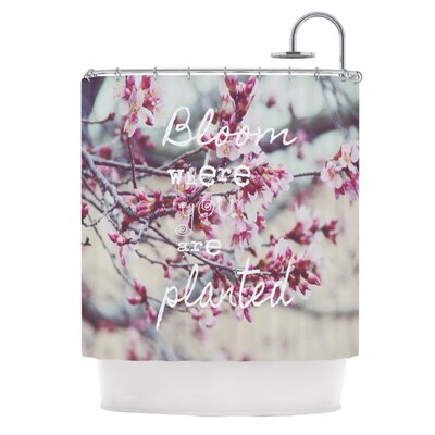 Bloom Pink Polyester Shower Curtain