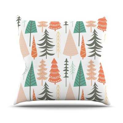 Happy Forest Throw Pillow Size: 16 H x 16 W x 3 D, Color: Orange