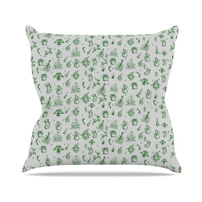Miniature Christmas by Snap Studio Throw Pillow Size: 26 H x 26 W x 5 D, Color: Green/Gray