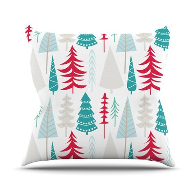 Happy Forest Throw Pillow Size: 18 H x 18 W x 3 D, Color: Red