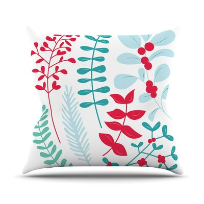 Deck the Hollies Throw Pillow Size: 16 H x 16 W x 3 D, Color: Red