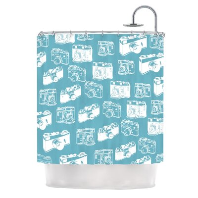 Camera Pattern Shower Curtain Color: Blue