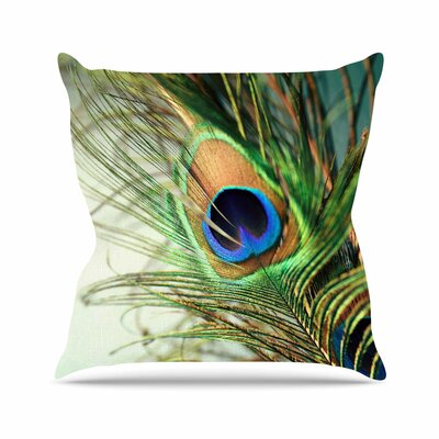 Peacock Feather Outdoor Throw Pillow Size: 26 H x 26 W x 4 D