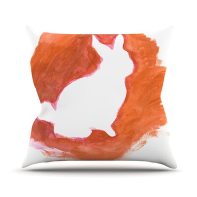 Throw Pillow Size: 16 H x 16 W, Color: Orange You A Bunny