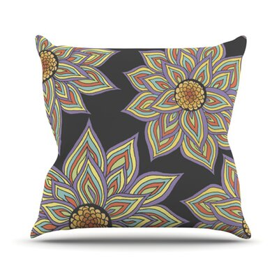 Throw Pillow Size: 16 H x 16 W, Color: Floral Dance In The Dark