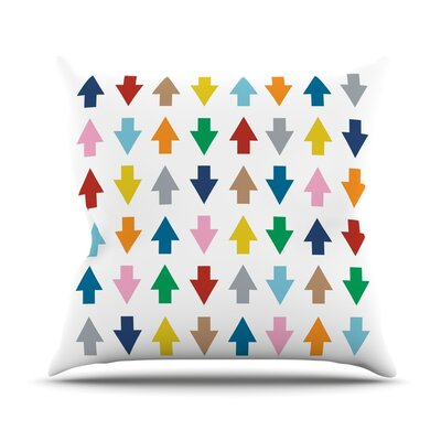 Arrows Up And Down Throw Pillow Size: 18 H x 18 W, Color: White