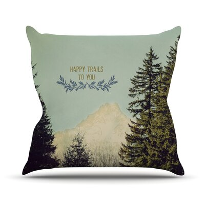 Happy Trails Throw Pillow Size: 26 H x 26 W