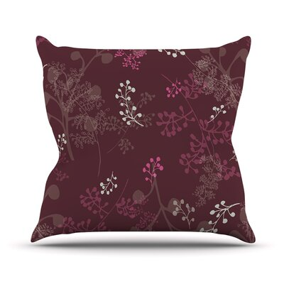 Throw Pillow Size: 16 H x 16 W, Color: Ferns Vines Bordeaux