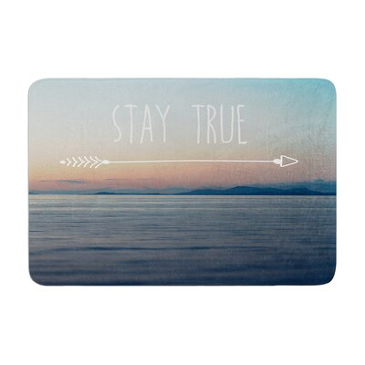 Ann Barnes Stay True Coastal Typography Memory Foam Bath Rug