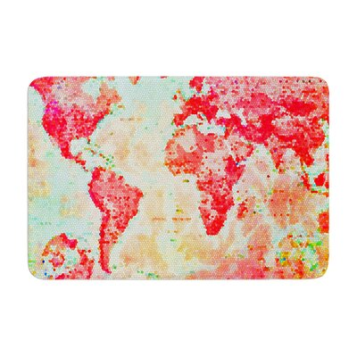 Alison Coxon Oh the Places Well Go World Map Memory Foam Bath Rug
