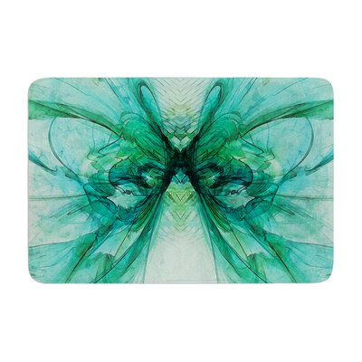 Alison Coxon Butterfly Memory Foam Bath Rug Color: Green/Black