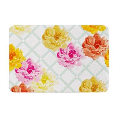 Pellerina Design Trellis Peonies Flowers Memory Foam Bath Rug